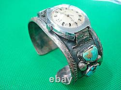 Vintage Hand Made Sterling Silver Turquoise Watch Cuff Bracelet