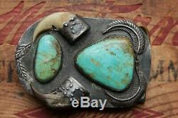 Vintage Hand Made Sterling Silver Turquoise Western Belt Buckle