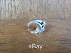 Vintage Jelly Opel Brutalist Artist Made Large Sterling Silver Ring Sz 8.5