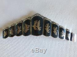 Vintage Made in Siam sterling silver niello enamel wide crown bracelet link pane
