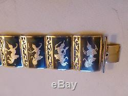 Vintage Made in Siam sterling silver wide link panel bracelet dancer niello open