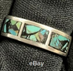 Vintage Mens Estate Sterling Silver Chip Turquoise Inlay Hand Made Band Ring 10