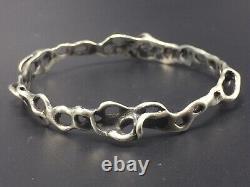Vintage Modernist Sterling Silver Designer Signed Hand Made Bangle Bracelet