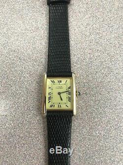 Vintage Must de Cartier Tank Vermeil Argent Swiss Made 925 Unisex Watch