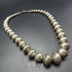Vintage NAVAJO Sterling Silver Hand-Made Navajo Pearls NECKLACE Saucer Beads