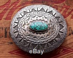Vintage Native American Hand Made Sterling Silver Turquoise Western Belt Buckle