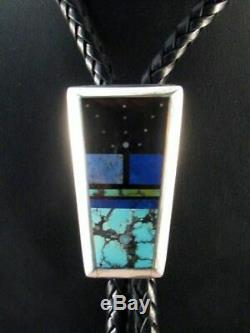 Vintage Native American Navajo HANDMade Bolo Tie with Turquoise and Jet 1970