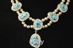 Vintage Native American Navajo Hand Made Sterling Silver Bead Turquoise Necklace