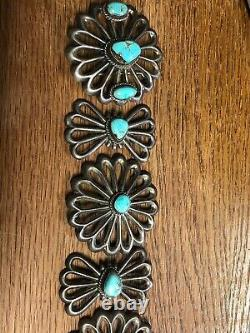 Vintage Native American Sterling Silver Hand Made Turquoise Conchos For Belt
