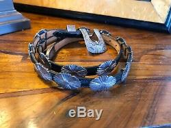 Vintage Navajo Native American Hand Made Sterling Silver 15 Leather Concho Belt