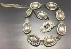 Vintage Navajo Native American Sterling Silver Hand Made Concho Belt