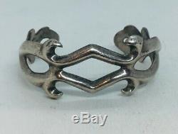 Vintage Navajo Native American Sterling Silver Hand Made Sand Cast Cuff Bracelet