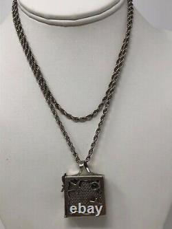 Vintage Pill Box Artist Made Sterling Silver Signed Pendant Necklace