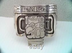 Vintage Rare Mexican Sterling Silver Bracelet Aztec Mayan Face Craftsman Made
