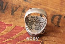 Vintage Rodey Lee Guerro Hand Made Men's Ring Fire Agate 17.8 g Size 10.25