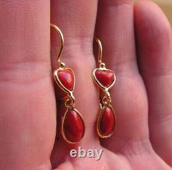 Vintage Silver 35mm Red coral Baroque Gem dangle earrings made in italy