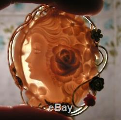 Vintage Silver Gold Carved Shell Cameo Brooch Pendant Made in Italy