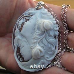 Vintage Silver Gold Carved Shell Cameo necklace Pendant Made in Italy