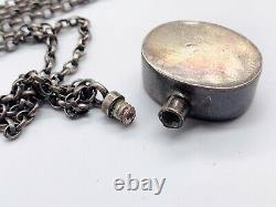 Vintage Solid Silver Perfume Bottle Pendant Heavy Well Made Ladies Necklace
