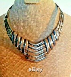 Vintage Sterling Mexican Made Collar Necklace Heavy 84.2 Grams
