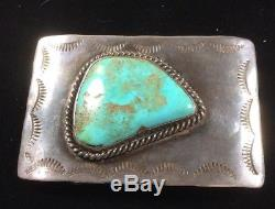 Vintage Sterling Silver Belt Buckle Made By Lee Langford. Large Turquoise Stone