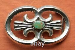 Vintage Sterling Silver Cast Turquoise Hand Made Western Belt Buckle