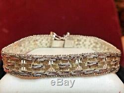 Vintage Sterling Silver Designer Signed Bracelet Milor Made Italy Basket Weave