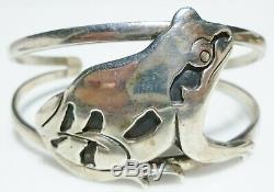 Vintage Sterling Silver Frog Heavy Artisan Designer Hand Made Cuff Bracelet