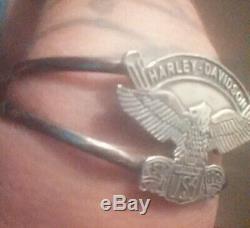 Vintage Sterling Silver Harley Davidson Eagle Est 1903 Made in USA Cuff Bracelet