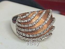 Vintage Sterling Silver Natural Diamond Ring Designer Signed Jwbr Made In India