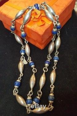 Vintage Sterling Silver Necklace & Bracelet Set Taxco Made In Mexico Gemstone