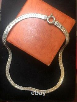 Vintage Sterling Silver Necklace Chain Made In Italy Signed Milor Herringbone