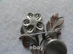 Vintage Swiss Made Frank's Sterling Silver Mechanical Wind Up Brooch Pin Watch