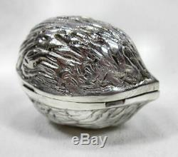 Vintage Tiffany & Co. Sterling Silver Walnut Hinged Pill Box Made In Italy