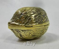 Vintage Tiffany & Co. Vermeil Sterling Silver Walnut Hinged Pill Box Made Italy