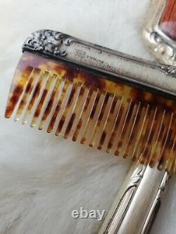 Vintage USA made Sterling Silver Hand roses 3pc Comb, Brush, & Mirror Vanity Set