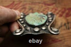 Vintage Unique Hand Made Sterling Silver Large Turquoise Belt Buckle