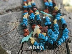 Vintage Zuni Fetish Necklace Hand Made Native American Jewelry 3 strands