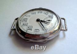 Vintage c. 1920s Sterling Silver Trench Watch Swiss Made 16 Jewels Wire Lug WORKS