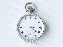 Vintage sterling silver C. C & Co. Swiss Made men's pocket watch, 45mm, running d