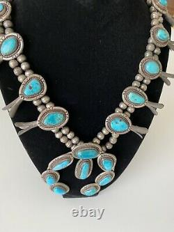 Vtg 925 Sterling Silver Navajo Made Horseshoe Turquoise Squash Blossom Necklace
