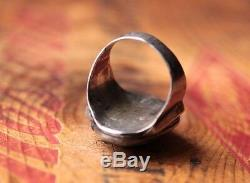 Vtg Hand Made Sterling Silver Men's Turquoise Ring 22.3 g Size 13 to 13.25