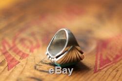 Vtg Hand Made Sterling Silver Men's Turquoise Ring 23.3 g Size 8