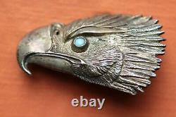 Vtg Sterling Silver Hand Made Eagle Head Turquoise Western Belt Buckle