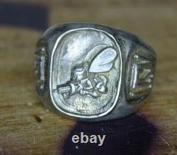 WWII U. S. Navy Seabees Construction Battalion Ring Made of Sterling Silver