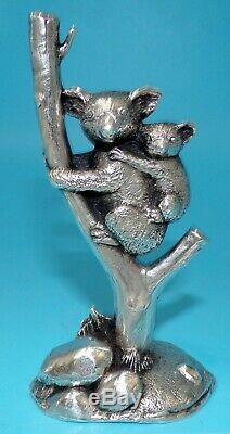 Wah Ming Chang SIGNED SOLID STERLING SILVER KOALA & CUB 365 GRAMS ONLY 3 MADE