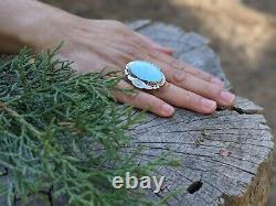 Women's Vintage Navajo Ring Turquoise Hand Made Native American Jewelry sz 7.5