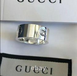 Womens Gucci G Logo Signature Cutout Ring Sterling Silver Made In Italy Sz 6